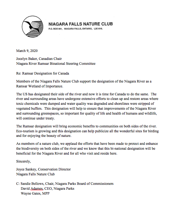 Letter in support of RAMSAR